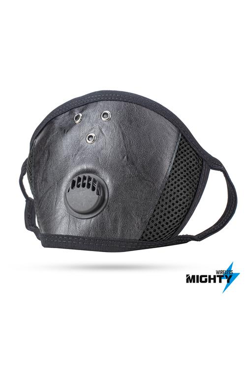 LEATHER FACE MASK - BLACK  - LEATHERMASK-BLACK