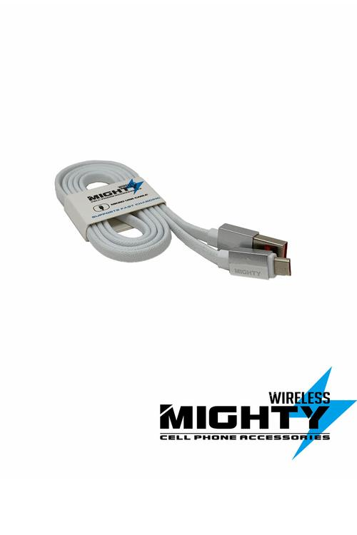 Fabric Flat Mighty Cables for Iphone, Android, and Type-C-MW120V9-MW120TC-MW120IPH